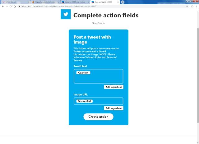 Twitterに投稿する内容を設定画面