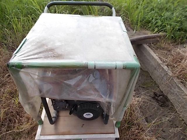 新田の雨除けカバーは緑