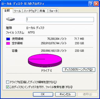 フォーマットした動画用HDD