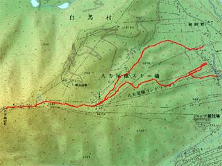 山頂-白樺-ゴンドラ-国際までの経路