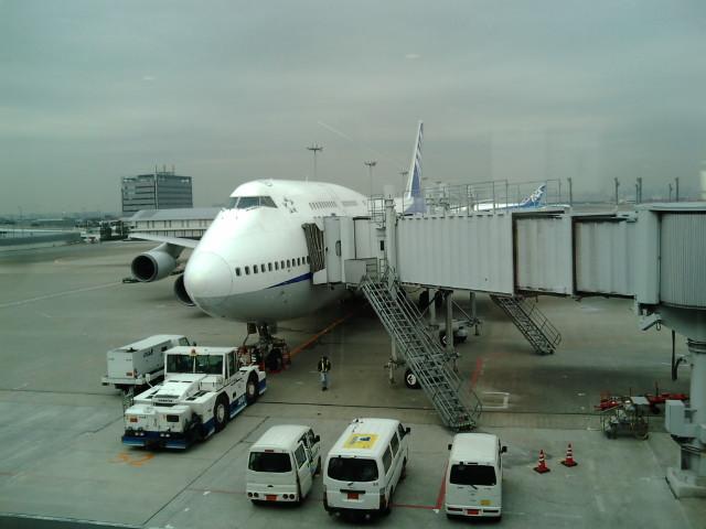 離陸前の機体