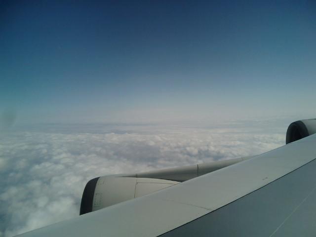 飛行中の機内から